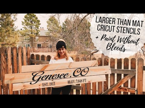 How to Cut Larger Than Mat | Stencil for Wood Sign + Paint Without Bleeds | Cricut Design Space