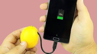 Charge Phone with Lemon in 10 Seconds 100%