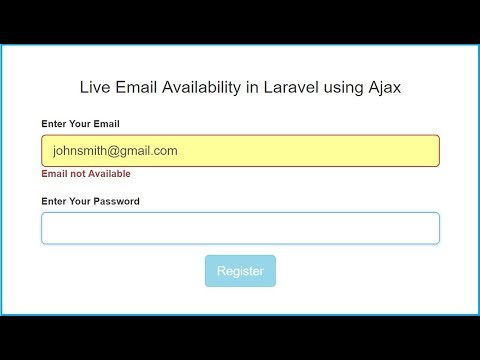 Live Email Availability in Laravel using Ajax