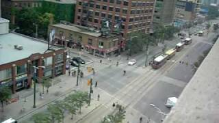 G20 Toronto. queen and spadina. June 27th. people arriving.AVI