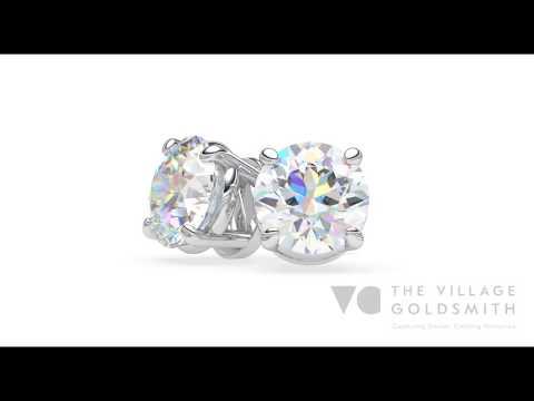 Round Brilliant Diamond Stud Earrings | The Village Goldsmith, New Zealand