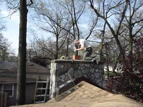 Removing raccoons from a chimney