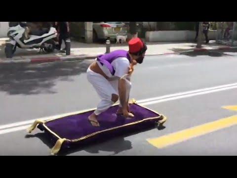 Man Rides Aladdin 'Magic Carpet' Through Tel Aviv