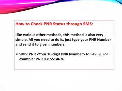 How to check pnr status through sms