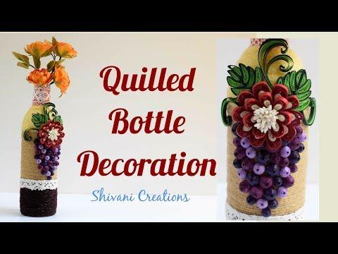Quilling Bottle Decoration/ Best from Waste/ Old Plastic Bottle Craft