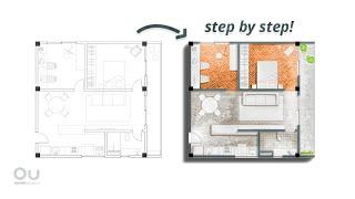 Architecture Plan Render in Photoshop - IN 10 MINUTES