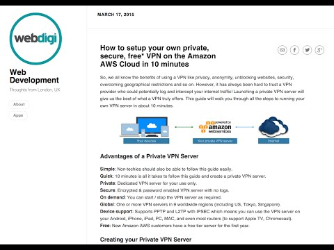 How to setup your own private, secure, free* VPN on the Amazon AWS Cloud in 10 minutes