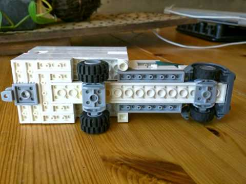 Custom Lego Box Truck and Trailer with Hot Rod