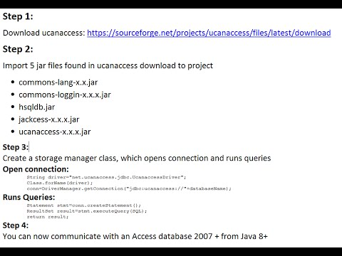 Connect to access 2007 + From Java 8+ using ucanaccess - Tutorial