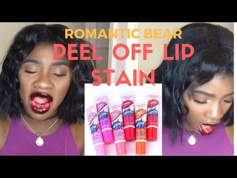 Romantic Bear Magic Peel off Lipstick on Dark Skin