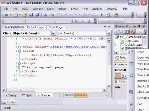 Create local website in Visual Studio 2008