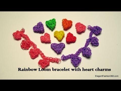 Rainbow Loom Heart Charms Bracelet - How to