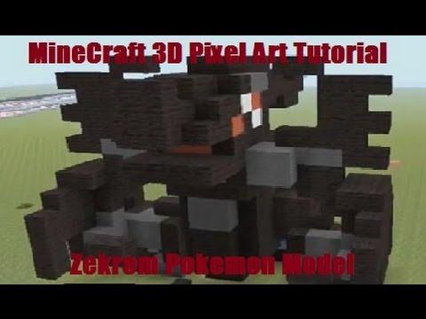 MineCraft 3D Pixel Art Tutorial - Zekrom Pokemon Model