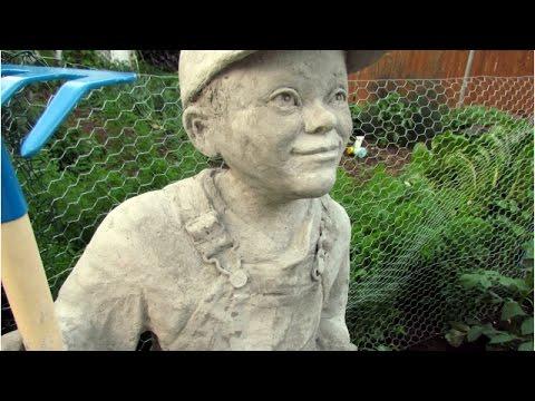 Little Farmer Cement Sculpture