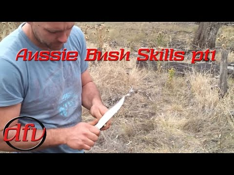 Basic Firestarting - Friction Fire using Hand Drill in Australian Bush Part 1
