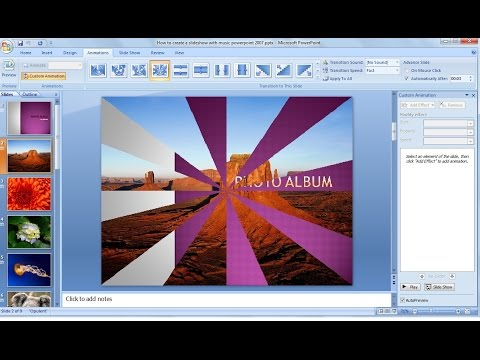 Powerpoint training |How to make a picture slideshow in powerpoint 2007 with music
