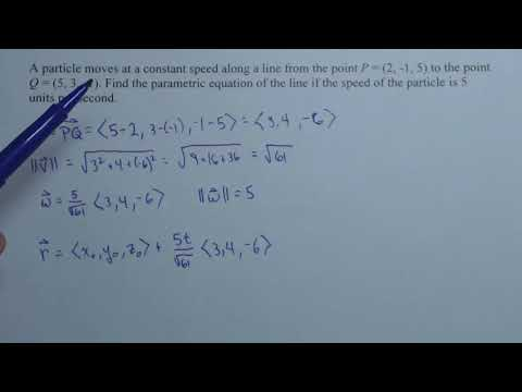 Finding Parametric Equations Between 2 Points Given a Constant Speed