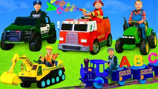Kids Play and Learn with Excavator, Trains, Cars, Fire Trucks & Toy Vehicles