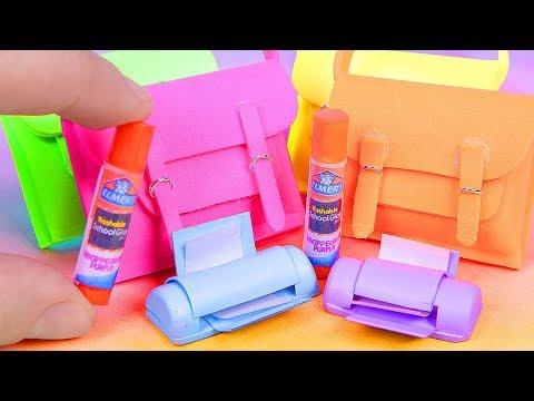 DIY Miniature School Supplies ~ Printer, Elmer's Glue Stick, BackPack
