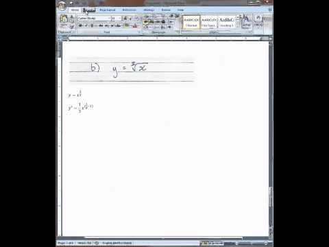 MS Word 2007: Negative and fractional exponents, cube roots, derivative notation 2