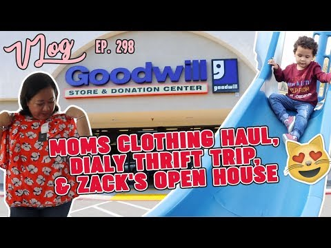 MOMS  CLOTHING HAUL, DAILY THRIFT TRIP, & ZACK'S OPEN HOUSE   VLOG EP. 298