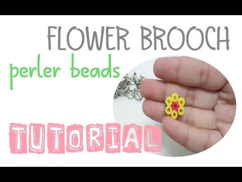 Craft Making Tutorial : DIY Flower Brooch - Perler Beads (easy craft for beginner)