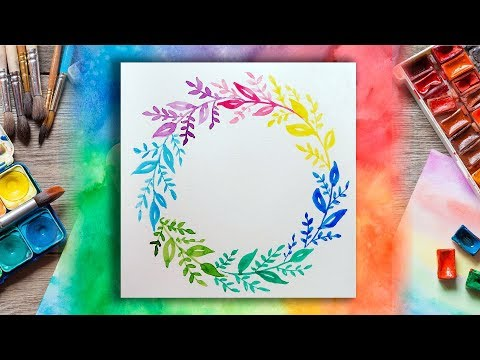 Colorful Watercolor Leaf Wreath Painting for Beginners