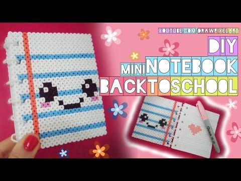 DIY mini notebook | back to school | easy kawaii | perler hama beads | cute pixels | draw pixel art