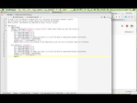 Distance Formula Calculator - Python 2.7 - Beginner Level