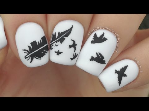 Easy Nail Art Feather Nail Stickers Feather Nail Art Tutorial