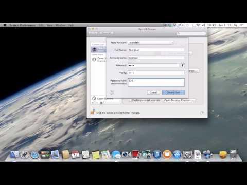 Create and delete user accounts on Mac OS X Mavericks