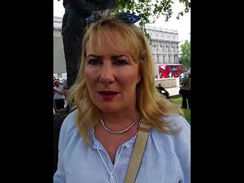 Janice Atkinson interviewed at Free Tommy rally at Downing Street, 5/25/18