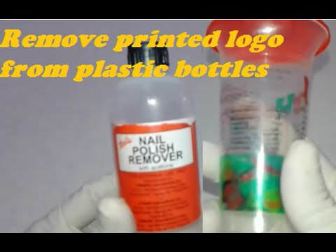 Remove printed logo from plastic bottle