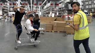 TRYING TO GET KICKED OUT OF IKEA! (SHOPPING CART SURFING)