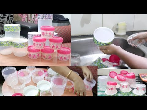 How To Clean Kitchen Containers By Hands | Kitchen container cleaning routineHINDI