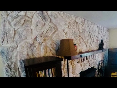 Rock Fireplace Makeover and  Mantle Addition