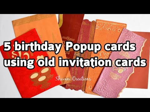 5 Birthday Pop up Cards | Recycle Old wedding invitation card | DIY Best from waste