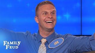 CRAZY! Watch contestant Joe celebrate an answer! | Family Feud