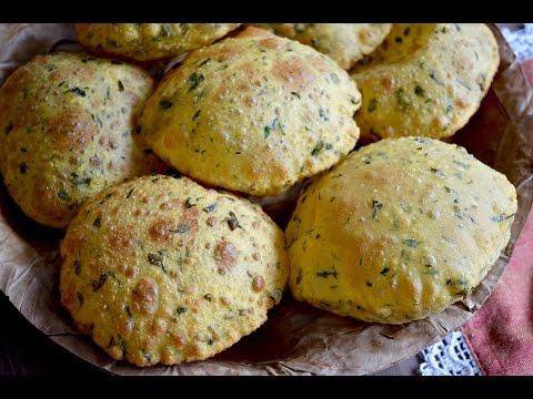 Perfectly puffed Methi puri Recipe | Fried Fenugreek leaves bread