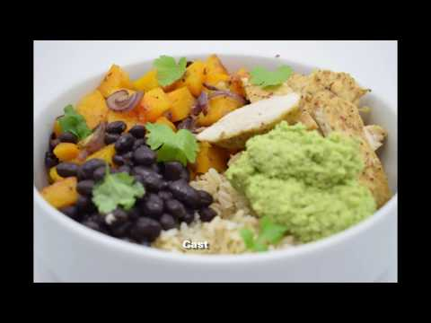 Roasted chicken, butternut squash and guacamole rice bowl