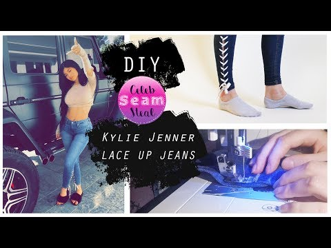 EASY DIY: Make your own Kylie Jenner lace up jeans | CELEB SEAM STEAL ep. 1