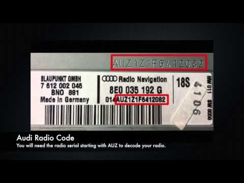 Audi Radio Code Serial Number PIN Unlock | A3, A4, A5, A6