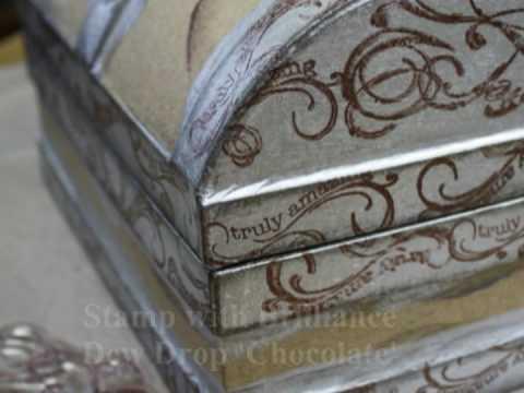 Treasure Box(paper mache) with Tsukineko Ink
