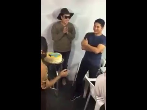 Coco Martin suprise birthday at the Beauty and the Bestie set