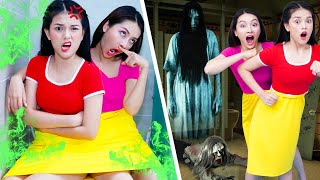 Two Person Dress Challenge | 2 Girls Stuck In The Same Dress | 24 Hours In One Skirt Challenge