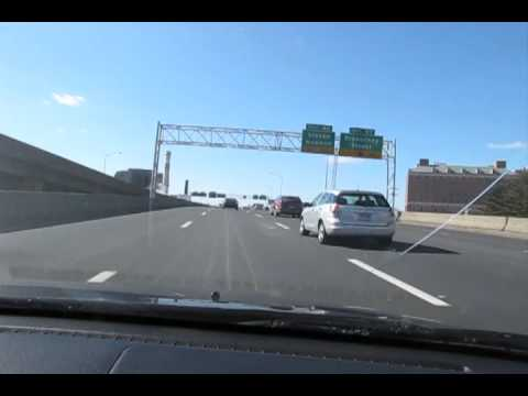 Driving on I-84 through downtown Hartford, CT