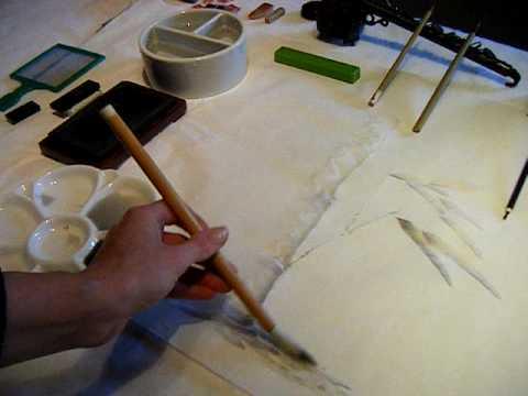 Japanese brush painting: adding ornamentation