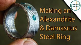 Making a Damascus Steel and Alexandrite Wedding Ring