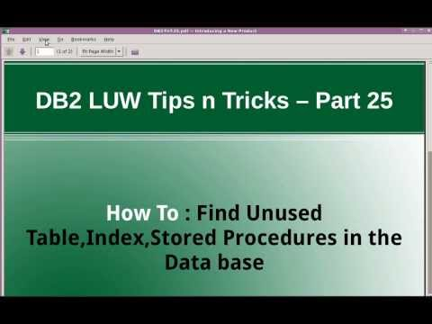 DB2 Tips n Tricks Part 25 - How to Find unused tables,indexes or stored procedures in the Database