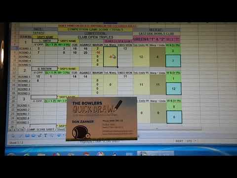 The Bowlers Quick Draw - Score Sheet and Totals Demonstration